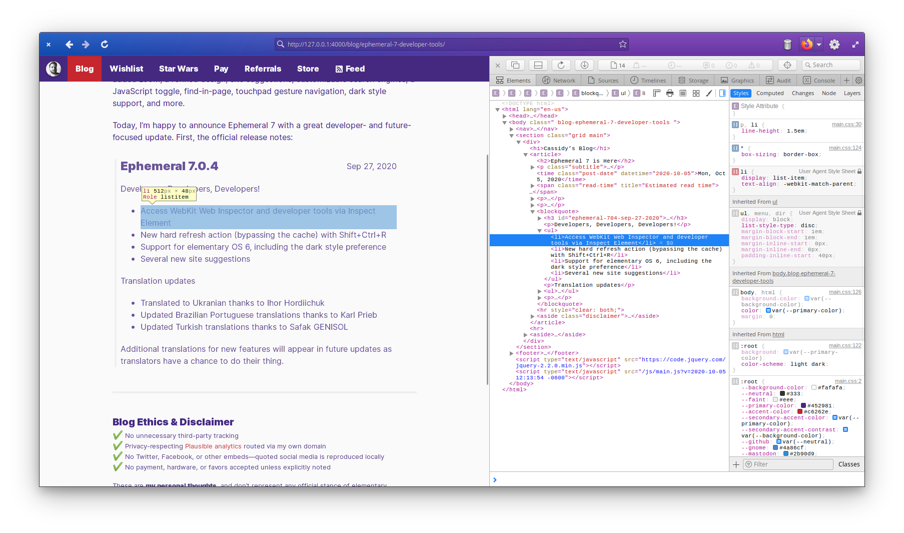WebKit Web Inspector, docked to the side