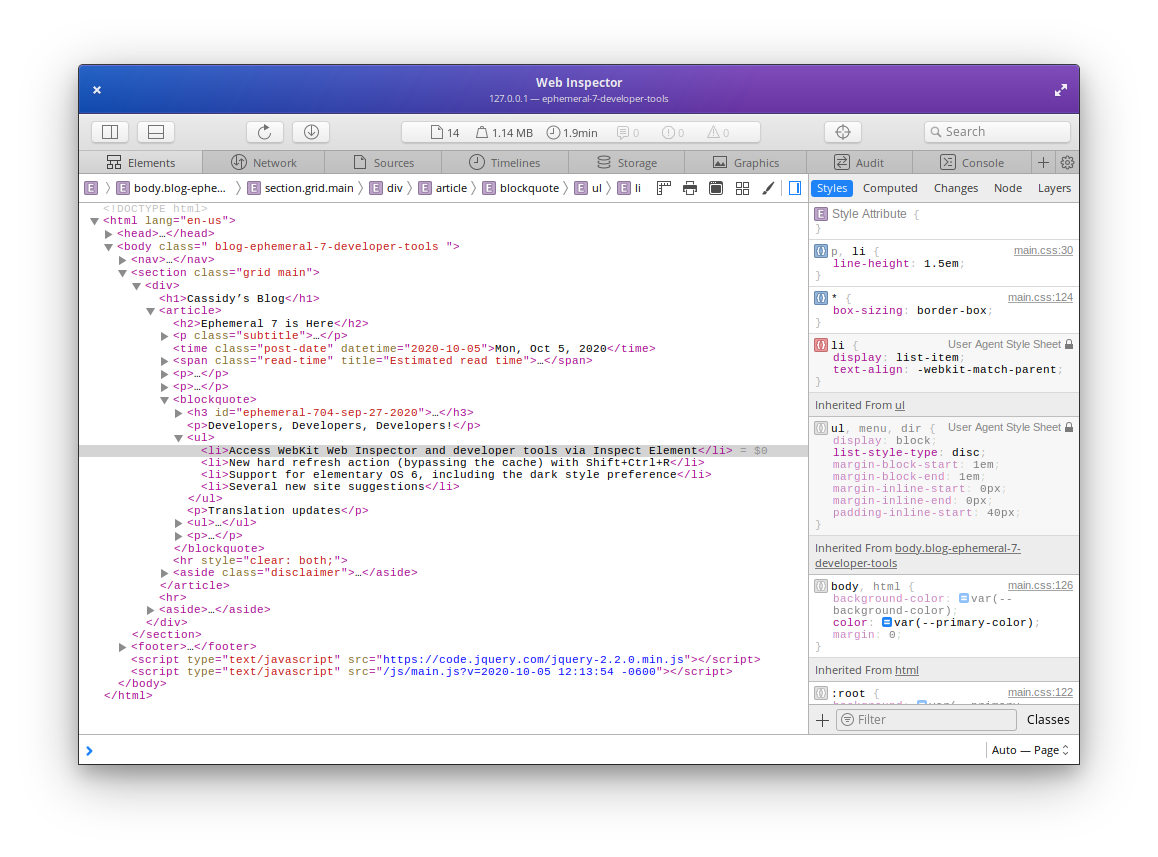 WebKit Web Inspector, popped out